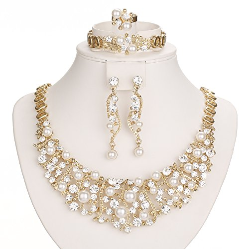 Plated Crystal Simulated Pearl Necklaces Jewelry product image