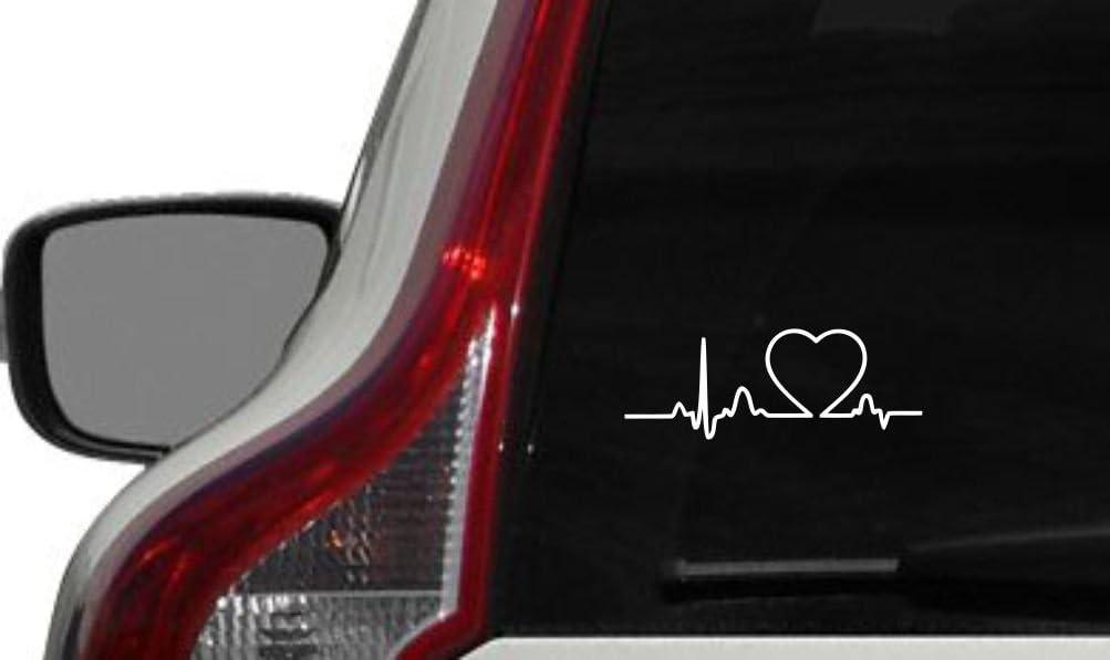 Heart on Heartbeat Cardiac Monitor Version 2 Car Vinyl Sticker Decal Bumper Sticker for Auto Cars Trucks Windshield Custom Walls Windows Ipad MacBook Laptop and More (White)
