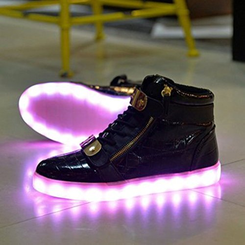 (Present:small towel)JUNGLEST® 8 Colors LED Light-Up Couple Womens Mens Sport Shoes Sneakers USB Charging for Valentines Day Chri Patent Leather Black High-Top LAJebkgu