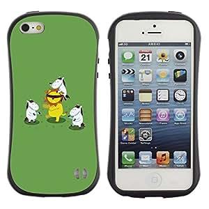 Fuerte Suave TPU GEL Caso Carcasa de Protección Funda para Apple Iphone 5 / 5S / Business Style Animal Cartoon Lion Green