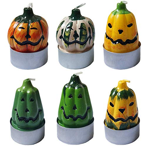 Orgrimmar Halloween Votive Candle Decoration Pumpkin Shape Tea Light Candles Set Non-Scent Wax Candle Gift for Party Home,6 Packs ()