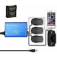 [Upgrade Grounded] Powerextra DJI Mavic Pro & Platinum 5 in 1 Rapid Intelligent Multi Battery Charger Hub (Charge 3 Batteries & 2 USB Ports) + Mavic Pro LiPo Battery Safe Bag
