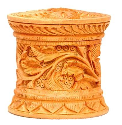 Vrindavan Bazaar Hermosa Caja de Madera Tallada para Uso Diario, Accesorio de Culto, 6
