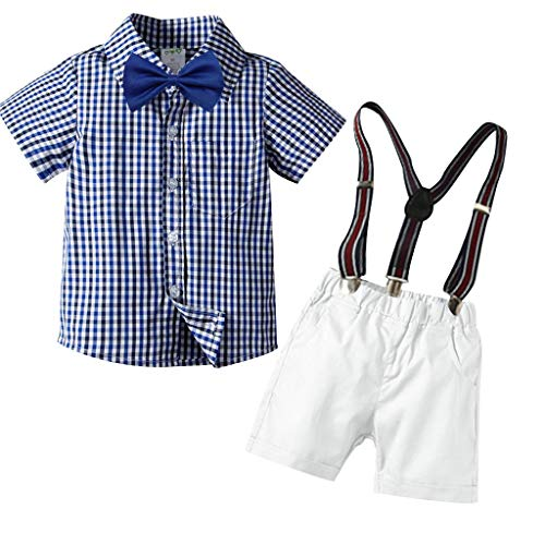 2Piece Toddler Baby Boys Gentleman Suits Casual Plaid Bow Ties Shirts + Suspenders Shorts Set Little Boys Outfits (1-6 Years) Blue