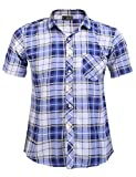 Modfine Men's Hipster Plaid Casual Slim Fit Short Sleeve Button Down Shirts