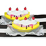 Sophia's 18 Inch American Doll Accessories Pretend Play Food Set of Banana Split 7 Pc. of 2 Spoons, 2 Lace Napkins, 2 Doll Ice Cream Banana Splits & Table Runner, for American Girl Doll & More