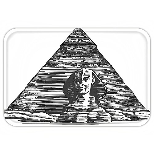 Ancient Icon Natural (VROSELV Custom Door MatEgyptian Decor Sketch Style Art Of The Sphinx And The Pyramid Old Ancient Empire Historical Icon Decor Black White)