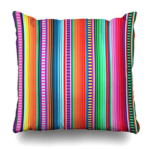 Ahawoso Throw Pillow Cover Square 20x20 Latin Mexican Pattern Serape Stripes American Fiesta Orange Mexico Line Cinco Party Retro Zippered Cushion Pillow Case Home Decor Pillowcase