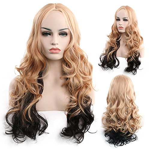 Wig Female Long Section With Curly Gold And Black Natural Hairstyle For Halloween Parties And Daily Parties