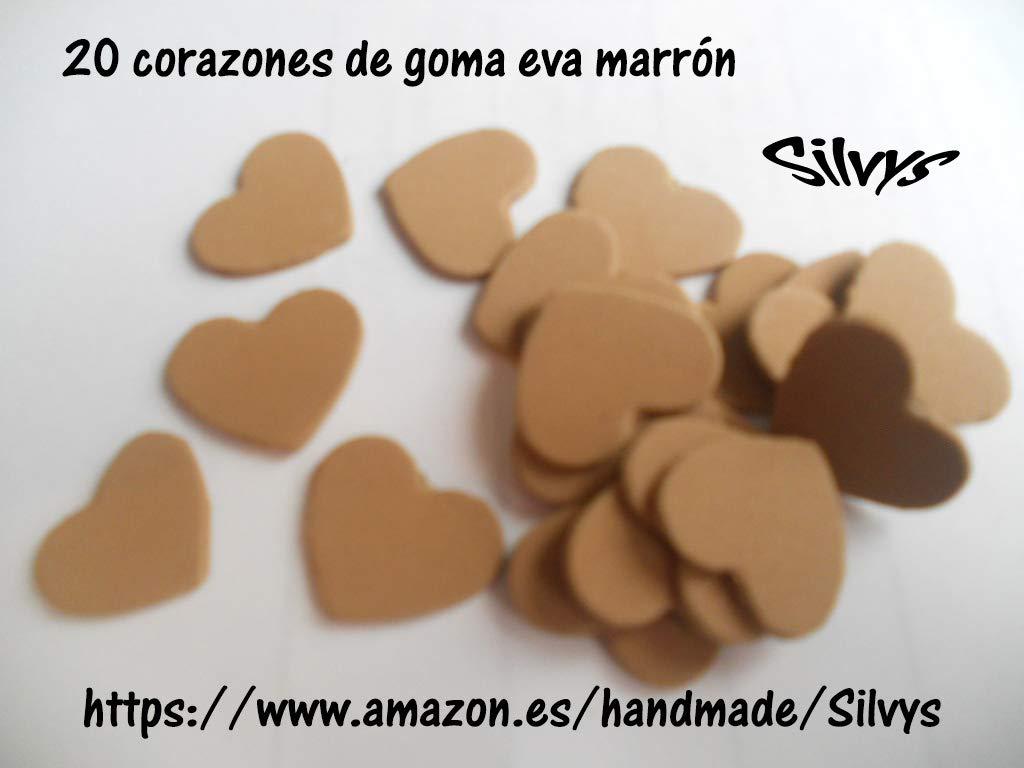 20 corazones de 2,5 cm x 2,5cm aprox. de color marrón (2) de ...