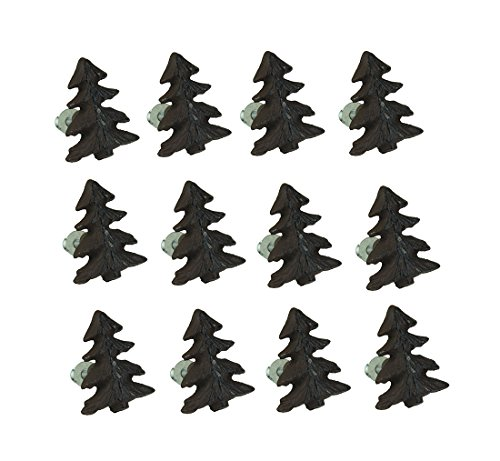 Zeckos Cast Iron Drawer Pulls Rustic Brown Woodland Pine Tree 12 Piece Cast Iron Drawer Pull Set 1.5 X 2 X 1 Inches Brown (Rustic Pine Lodge)