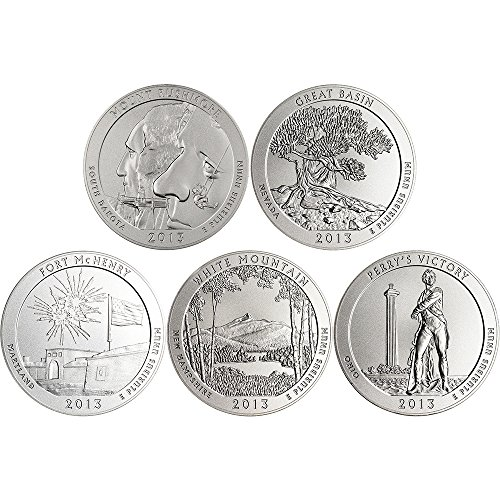 2013 P America the Beautiful Silver (5 oz) 5-Coin Set OGP