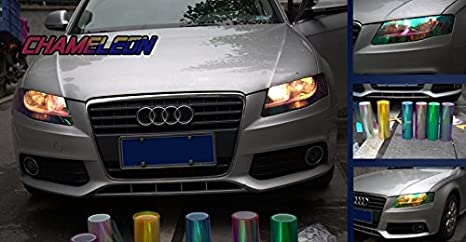 Aumo-mate 12 by 48 Inches Chameleon Car Light Sticker Headlight Taillight Tint Vinyl Film Car Styling Sticker Car Accessories Blue