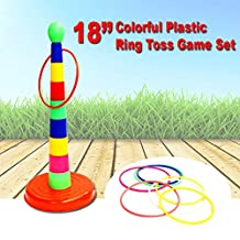 """Dazzling Toys 18"""" Colorful Plastic Sport Ring Toss Game Set"""