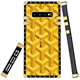 Luxury Square Case for Samsung Galaxy S10+ Yellow Goyard Inspire Design Soft TPU Wrapped Golden Edges and Hard PC Back Shockproof Protective Cover