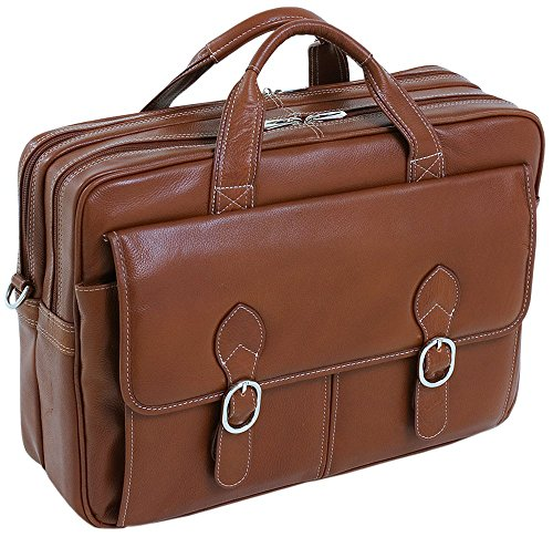 McKleinUSA Kenwood 15564 Brown Leather Double Compartment Laptop -
