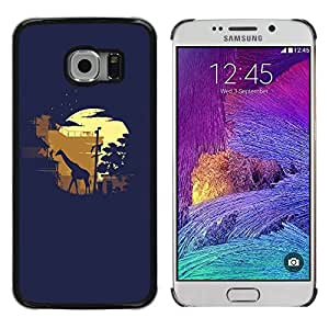 Shell-Star Arte & diseño plástico duro Fundas Cover Cubre Hard Case Cover para Samsung Galaxy S6 EDGE / SM-G925 / SM-G925A / SM-G925T / SM-G925F / SM-G925I ( Giraffe Moonlight Sahara Safari )