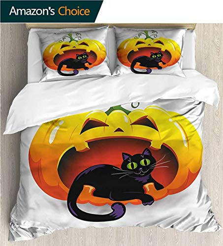 carmaxs-home Kids Quilt 3 Piece Bedding Set,Box Stitched,Soft,Breathable,Hypoallergenic,Fade Resistant with Sham and Decorative 2 Pillows,Full Queen-Pumpkin Halloween Theme Black Cat (79