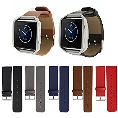 Fitbit Blaze Accessory Band, Vancle Luxury Genuine Leather Replacement Wrist Watch Strap for Fitbit Blaze