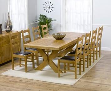 Paris de Roble Macizo Grande Mesa de Comedor Extensible y 8 sillas ...