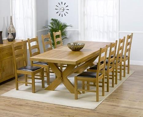 Paris de Roble Macizo Grande Mesa de Comedor Extensible y 8 sillas de Valencia Set: Amazon.es: Hogar