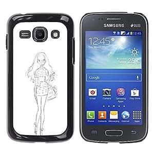 """For Samsung Galaxy Ace 3 Case , Bosquejo blanco vestido de la manera del lápiz"""" - Diseño Patrón Teléfono Caso Cubierta Case Bumper Duro Protección Case Cover Funda"""