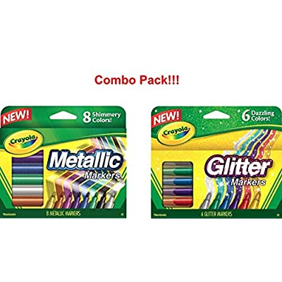 Crayola Glitter Markers, 6 Count (Glitter Markers and Metallic Markers): Toys & Games