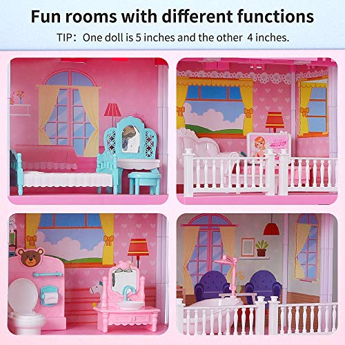Temi Dream-Dollhouse Building-Sets Doll-Figures Furniture-Kits - Home Gift for Toddlers, Boys & Girls(11 Rooms)