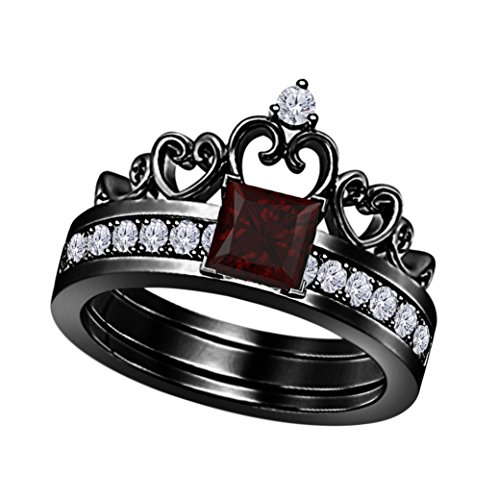 14k Black Rhodium Over Princess Cut 6MM Created Red Garnet & White Cubic Zirconia Round Interchangeable Crown Engagement & Wedding Ring Set Women's Jewelry Size 4 to 11 - Garnet White Gold Wedding Bands