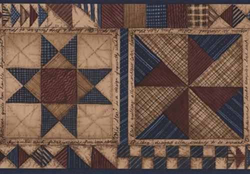 Beige Blue Brown Abstract Wallpaper Border Geometric Design, Roll 15' x 5.5'' ()