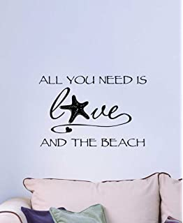 Wall Decal All You Need Is Love And The Beach Ocean Inspired Cute Wall  Vinyl Art