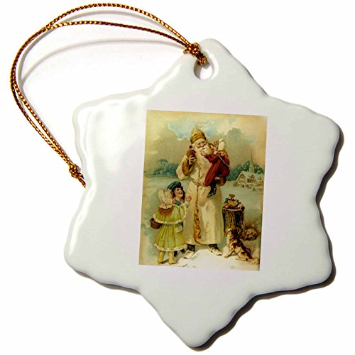 3dRose orn_6811_1 Victorian Santa-Snowflake Ornament, Porcelain, 3-Inch