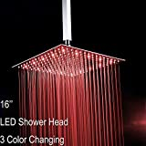 "Fyeer 16"" Square LED Fixed Rainfall Shower Head Ultra-thin Ceiling Mounted, 3-LAYER Luxury Bathroom Showerheads Mirror Chrome Polished 304 Stainless Steel, Temperature Sensor 3 Colors Changing"