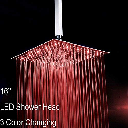 Fyeer 16'' Square LED Fixed Rainfall Shower Head Ultra-thin Ceiling Mounted, 3-LAYER Luxury Bathroom Showerheads Mirror Chrome Polished 304 Stainless Steel, Temperature Sensor 3 Colors Changing by Fyeer