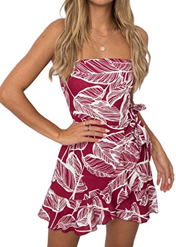 ECOWISH Womens Dresses Floral Backless Spaghetti Strap Leaf Print Bodycon Mini Dress