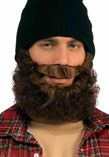 c7582b54a7e Forum Novelties Men s Beard-Brown Curly with Moustache Party Supplies