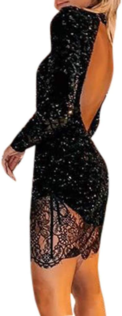 Allegorly Damska Sexy Bodycon Abendkleider Spitzenkleid Paillettenkleid Hohe Taille Langarm Rundhals Etuikleid A-Linie Bleistiftkleid Cocktailkleid Partykleider Elegantes Glänzend Ballkleid: Odzież