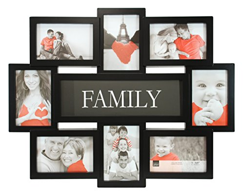 Kiera Grace Family Collage Frame, 17.5 by 22 Inch Holds 8-4 by 6 Inch Photos, Black