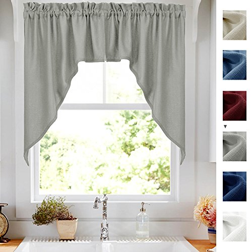 Grey 38-Inch Swag Curtains for Windows, Elegant Home Decor C