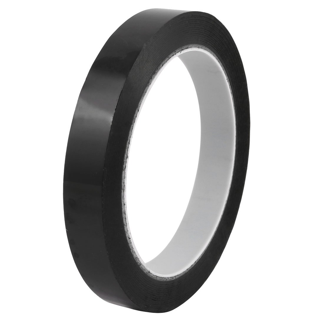 uxcell 18mm Width 66m Length Waterproof Black Single Sided Adhesive Marking Tape