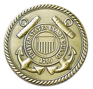 "United States Coast Guard 3"" Solid Brass Hand Brushed Medallion by MONTRES CHATON USA INC."