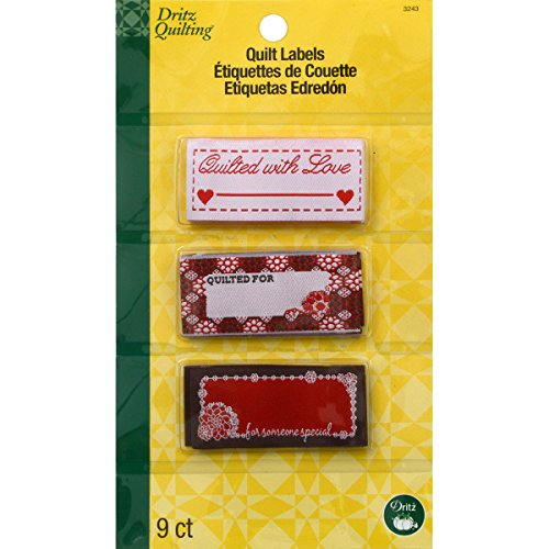 Dritz 3243 SewIn Embroidered Label Quilted With Love 9Count