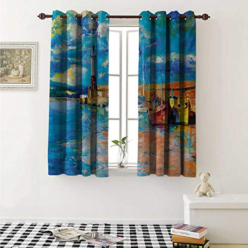Flyerer Art Waterproof Window Curtain Oil Painting Tones Style Lighthouse and Boats on Sea Shore Town Coastal Charm Picture Curtains for Party Decoration W84 x L72 Inch Multicolor