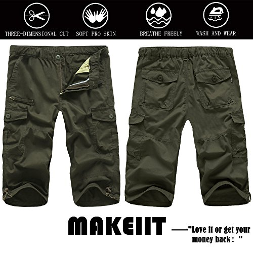 MAKEIIT Men's Juniors Cargo Shorts XXXL Cargo Shorts Dri Fit Cargo Shorts with Multi-Pocket by MAKEIIT (Image #6)