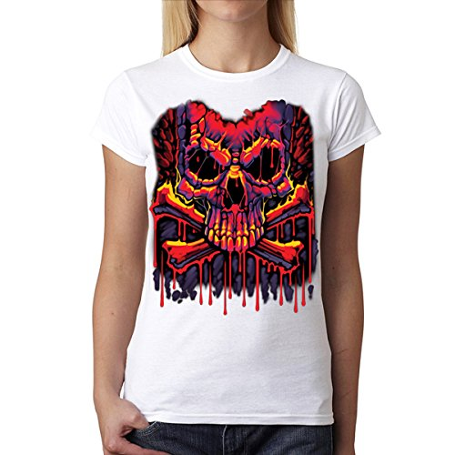Derritiendo Cráneo Tibias Cruzadas Mujer Camiseta L-2XL Nuevo Negro