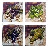 Certified International Wine Cellar 8-3/4-Inch Square Salad/Dessert Plate, Assorted Designs, Set of 4