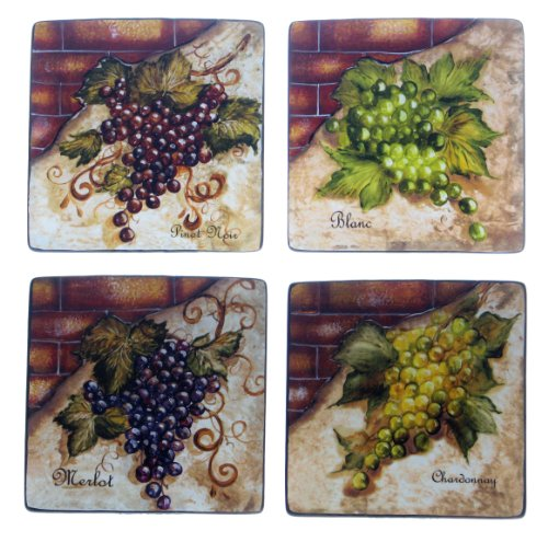 Certified International Wine Cellar 8-3/4-Inch Square Salad/Dessert Plate, Assorted Designs, Set of 4 Grape Salad Set