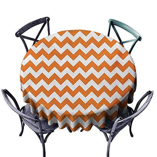VIVIDX Fashions Table Cloth,Chevron,Halloween Pumpkin Color Chevron Traditional Holidays Autumn Season Celebrate,for Banquet Decoration Dining Table Cover,35 INCH,Orange White]()