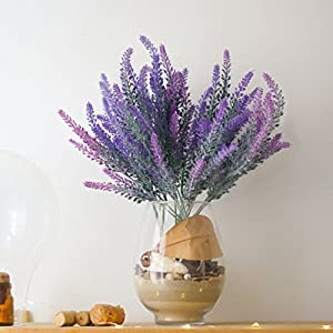 DiDaDi 4 Pcs Artificial Flowers Flocked Lavender Bouquet Romantic Fake Lavender Bunch in Purple Artificial Plant for Home Wedding Garden Decor(Mixed) 5