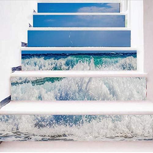 libby-nice Effct 6 Unids/Set DIY 3D Pasos Etiqueta Engomada De La Escalera Mar Paisaje Paisaje Papel Pintado PVC Patrones De Paisajes Decoración del Hogar: Amazon.es: Hogar